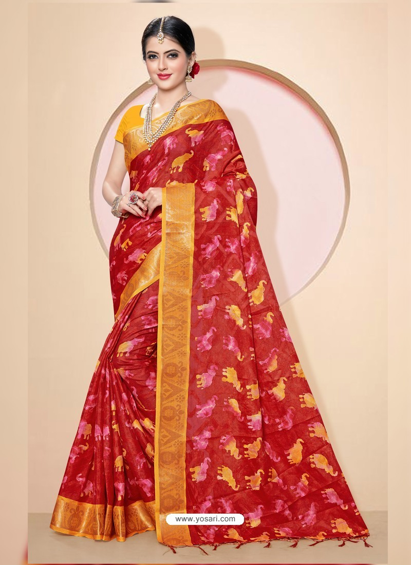 Wine Kota Silk Cotton Casual Saree