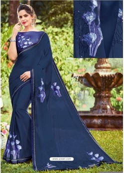 Blue Georgette Printed Saree