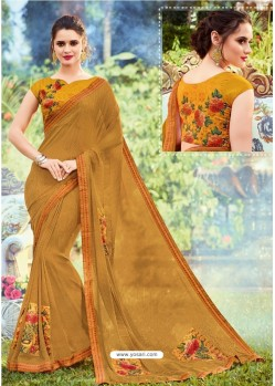 Mustard Georgette Printed Saree