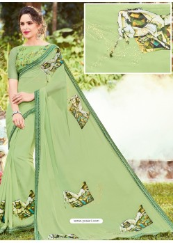 Jade Green Georgette Printed Saree