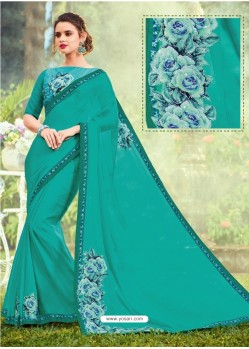 Aqua Mint Georgette Printed Saree