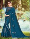 Tealblue Georgette Printed Saree