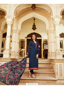 Navy Blue Royal Crepe Embroidered Suit