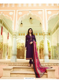 Purple Royal Crepe Embroidered Suit