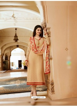 Beige Royal Crepe Embroidered Suit