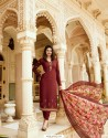 Wine Royal Crepe Embroidered Suit
