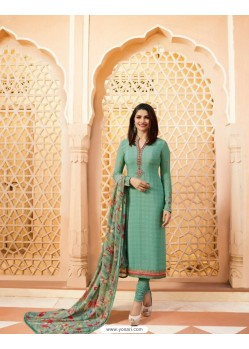 Aqua Mint Royal Crepe Embroidered Suit