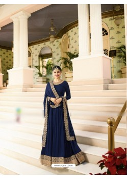 Navy Blue Silk Georgette Floor Length Suit