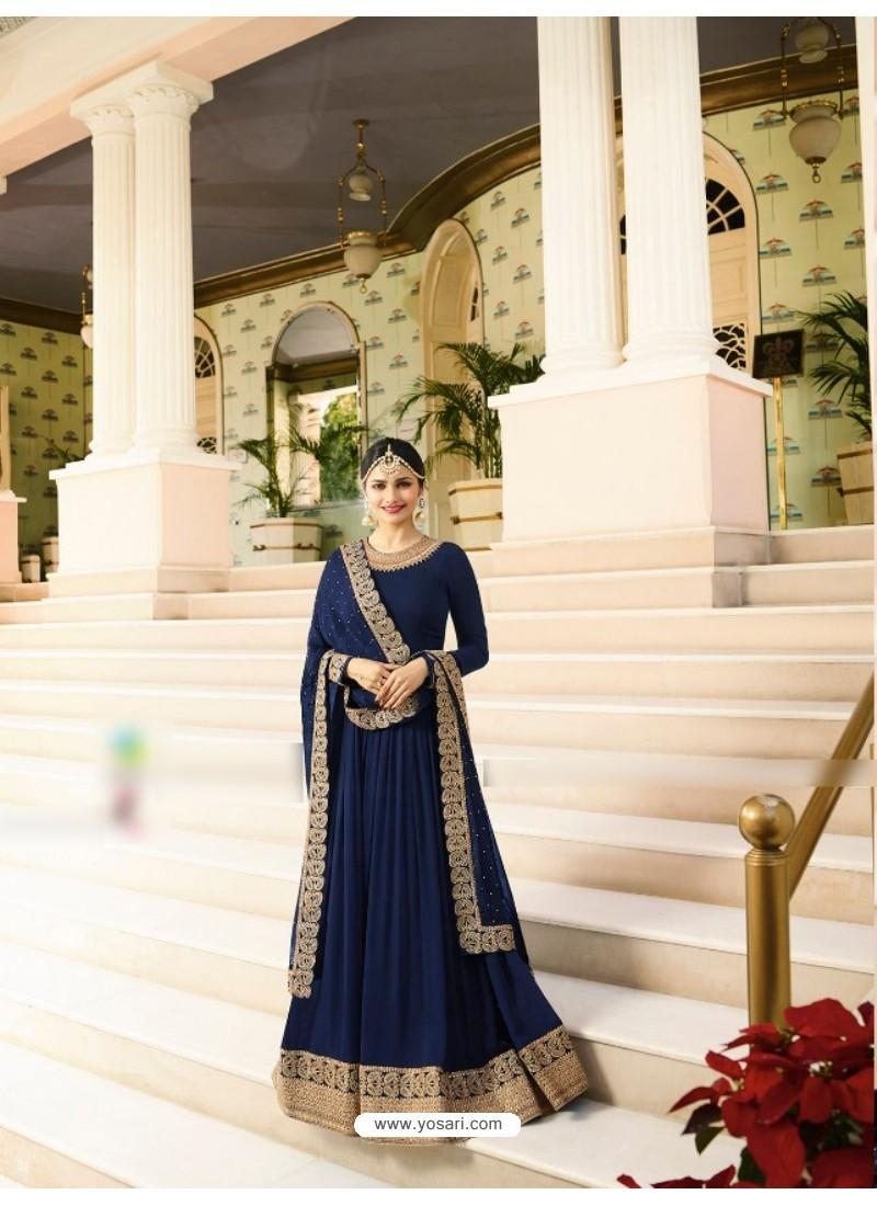 Navy Blue Silk Georgette Floor Length Suit