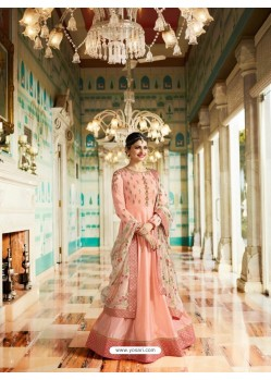 Baby Pink Silk Georgette Floor Length Suit
