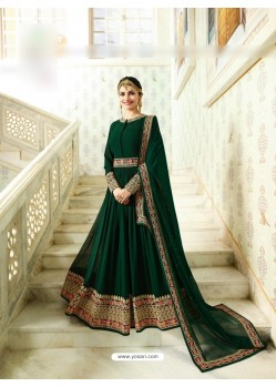 Green Silk Georgette Floor Length Suit