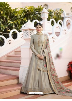 Silver Silk Georgette Floor Length Suit