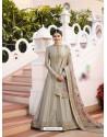 Silver Silk Georgette Floor Length Suit