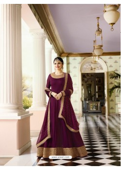 Purple Silk Georgette Floor Length Suit