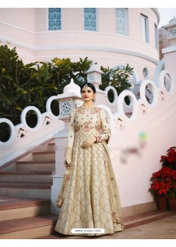 Off White Silk Georgette Floor Length Suit