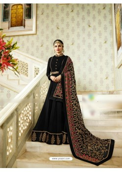 Black Silk Georgette Floor Length Suit