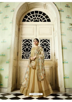 Golden Silk Georgette Floor Length Suit