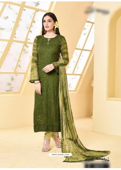 Mehendi Pure Chiffon Embroidered Suit