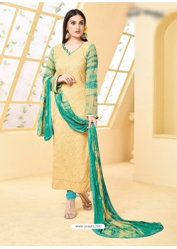 Cream Pure Chiffon Embroidered Suit