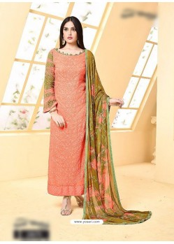 Peach Pure Chiffon Embroidered Suit