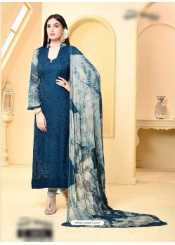 Navy Blue Pure Chiffon Embroidered Suit