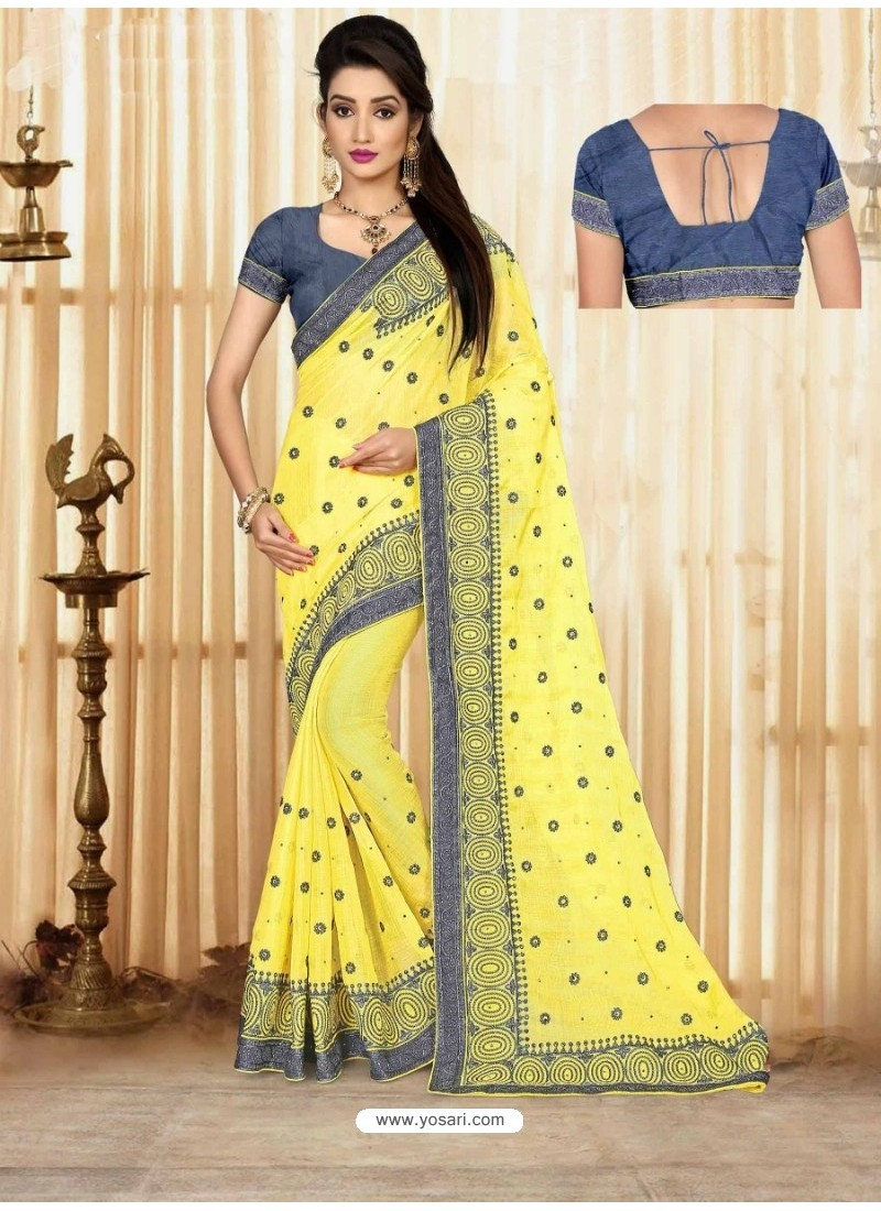 Lemon Marble Chiffon Embroidered Saree