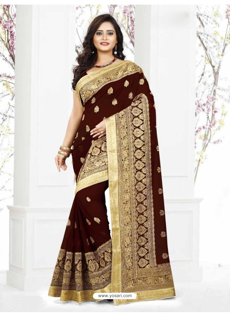 Deep Scarlet Faux Georgette Embroidered Saree