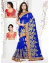 Royal Blue Embroidered Saree