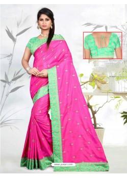 Rani Faux Silk Embroidered Saree