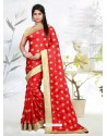 Red Faux Silk Embroidered Saree