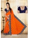 Orange Faux Silk Embroidered Saree