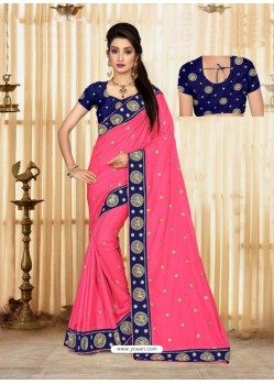 Pink Faux Silk Embroidered Saree