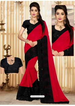 Red Faux Georgette Embroidered Saree