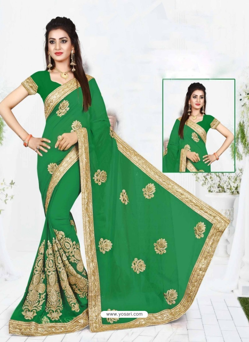 Green Faux Georgette Embroidered Saree