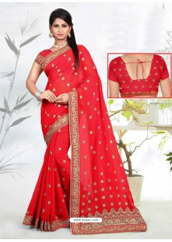 Peach Faux Georgette Embroidered Saree