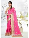 Pink Faux Silk Georgette Embroidered Saree