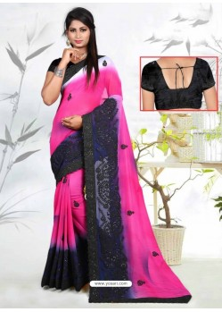 Rani Faux Georgette Embroidered Saree
