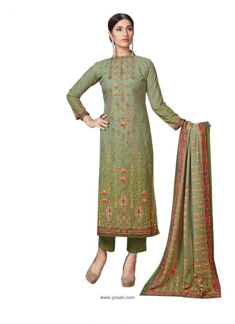 Mehendi Cotton Maserein Embroidered Suit