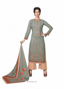 Dull Grey Cotton Maserein Embroidered Suit