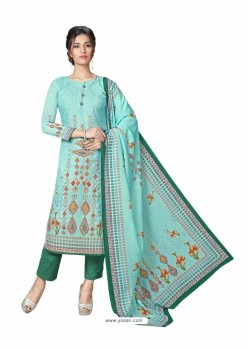 Aqua Mint Cotton Maserein Embroidered Suit
