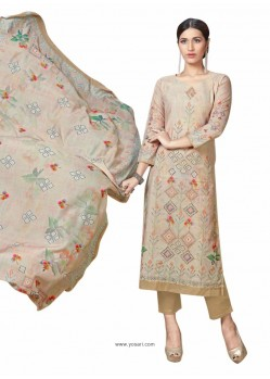 Beige Cotton Maserein Embroidered Suit