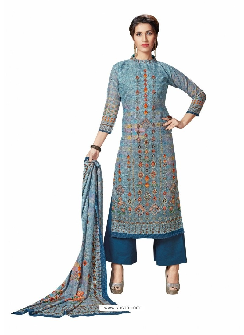 Peacock Blue Cotton Maserein Embroidered Suit