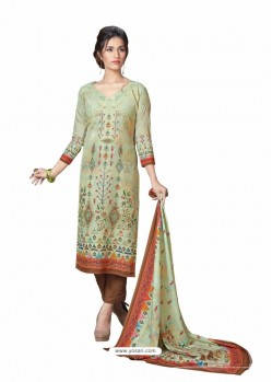 Olive Green Cotton Maserein Embroidered Suit
