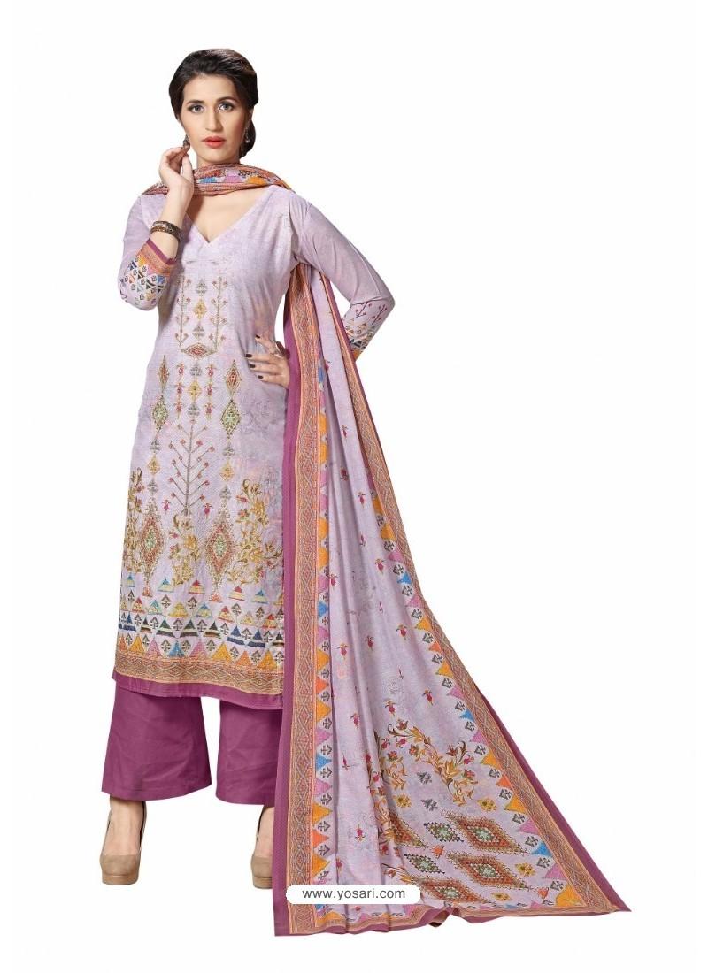 Mauve Cotton Maserein Embroidered Suit