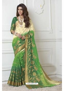 Splendid Green Raw Silk Saree