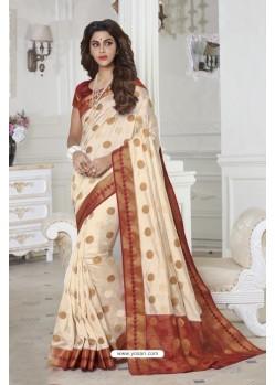 Amazing Off White Raw Silk Saree