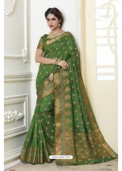 Lovely Green Raw Silk Saree