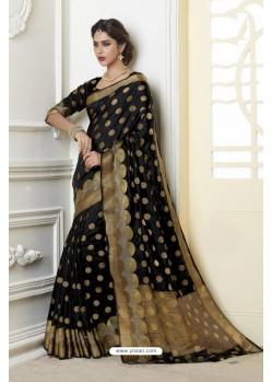 Dazzling Black Raw Silk Saree
