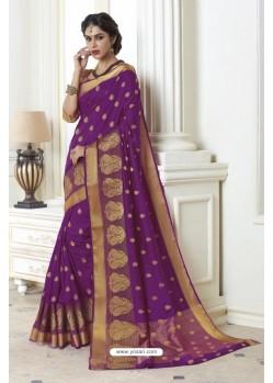 Feminine Purple Raw Silk Saree