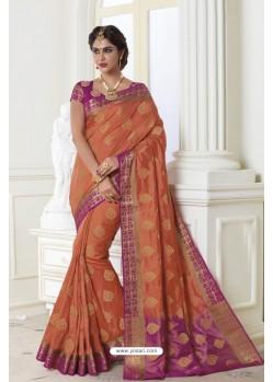 Magical Orange Raw Silk Saree